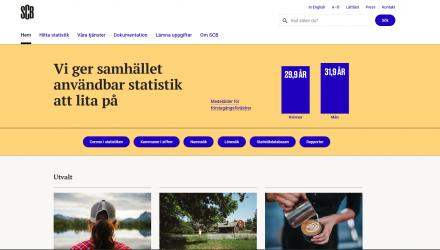 Captura de pantalla del sitio web de la Oficina Central de Estadísticas de Suecia